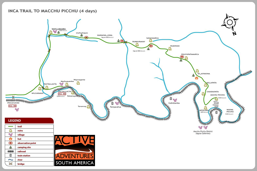 Classic Inca trail to Machu Picchu trail map with Active Adventures South America