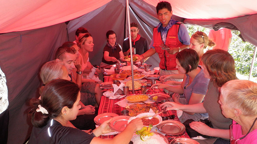 Lunch break in the dining tent Lares Inca Trail guided tour
