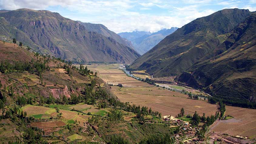 View of Peru's Sacred Valley before starting the Lares Inca Trail hike