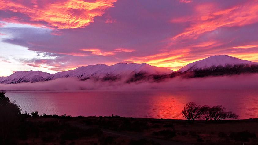 lake ohau sunset
