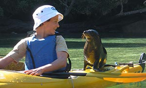 kayaker with sea lion