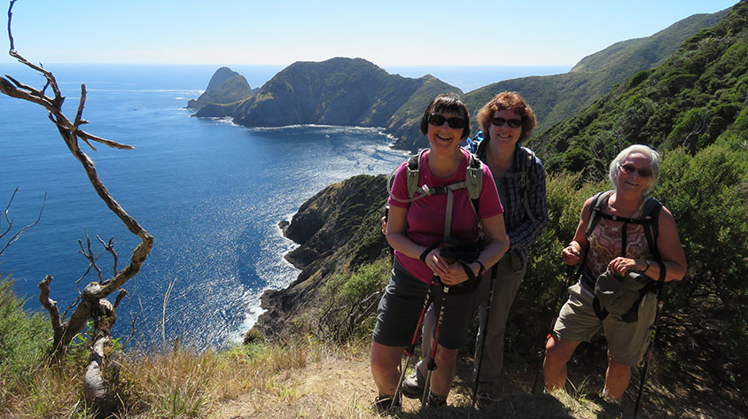3 ladies on the Cape Brett Hike with ocean and a peninsular in the background